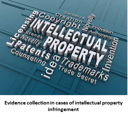 Evidence collection in cases of intellectual property infringement, Evidence in intellectual property infringement, evidence in IP, Evidence collection in intellectual property infringement
